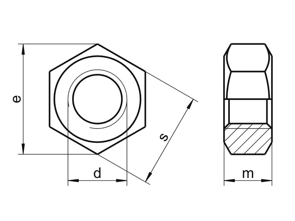 Гайка шестигранная оцинкованная М10 мм DIN 934 класс прочности 5,8