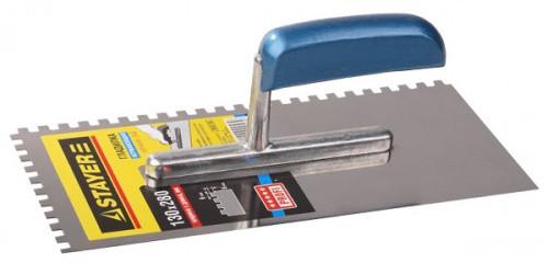 Гладилка нержавеющая 130х280мм зуб 6х6 серия PROFI с деревянной ручкой Stayer