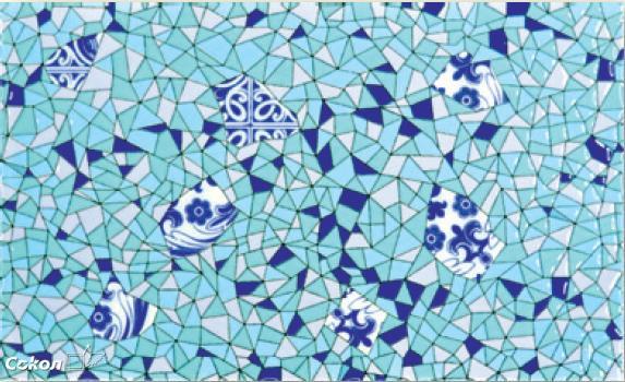 Панно из 1-ой плитки Гауди голубая D-692 20х33