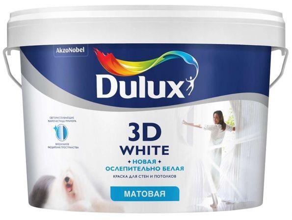 Краска ослепительно белая матовая Dulux 3D White / Дулюкс 3Д 10л