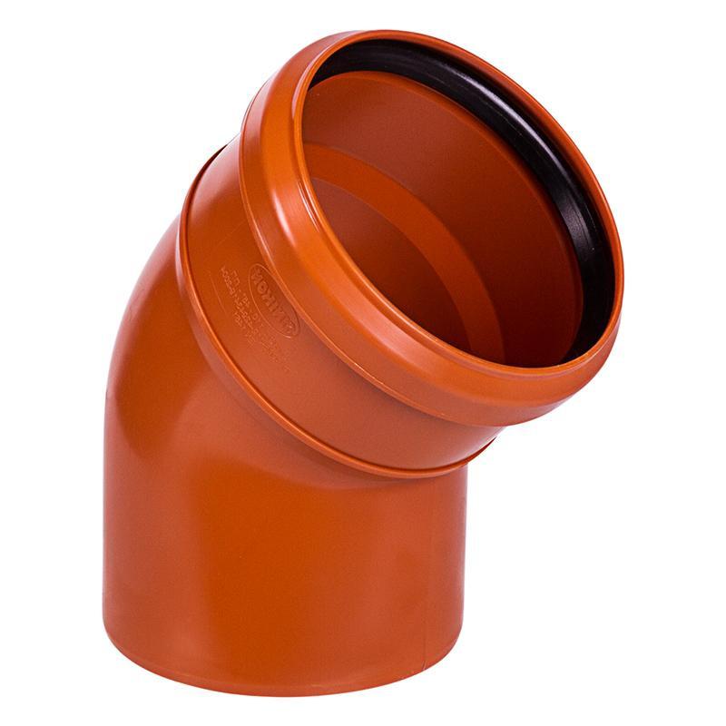 Отвод канализационный ПВХ 110мм 45° рыжий