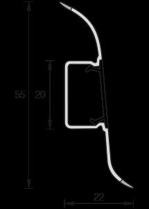 Напольный пластиковый плинтус Идеал Комфорт Глянцевый 55мм Орех  291