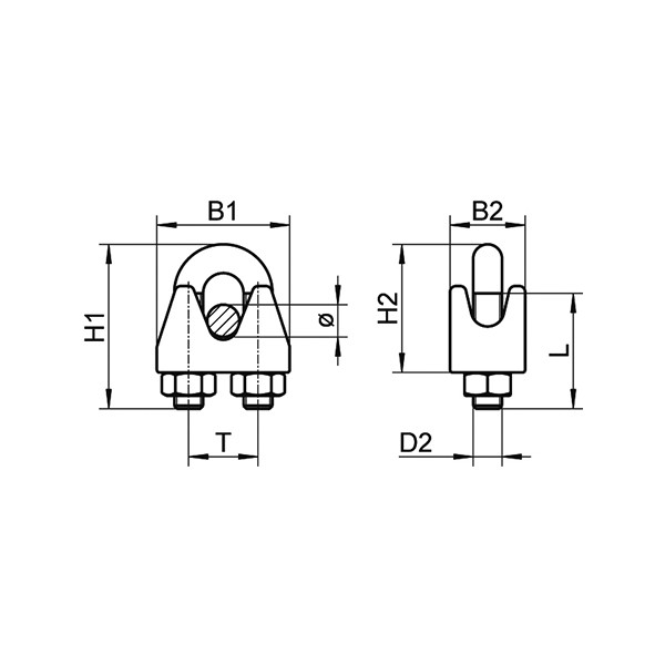 Зажим для троса с 2мя гайками (нержавеющий) АРТ 9074  А4 5мм