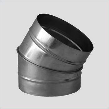Отвод для круглых воздуховодов оцинкованный d 250 мм на 45°