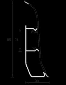 Напольный пластиковый плинтус Идеал Элит-Макси 85мм Дуб кофейный 207